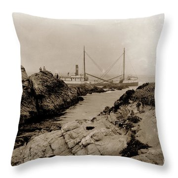 Throw Pillow featuring the photograph Steam Schooner S S J. B. Stetson, Ran Aground At Cypress Point, Sep. 1934 by California Views Archives Mr Pat Hathaway Archives