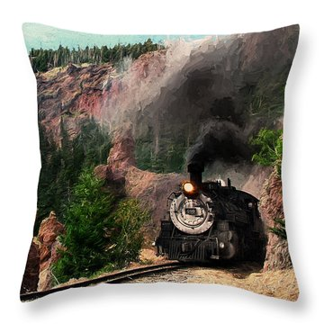 Throw Pillow featuring the photograph Steam Through The Rock Formations by Ken Smith