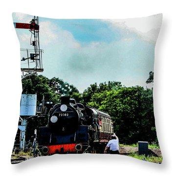 Steam Train Approaching Throw Pillow