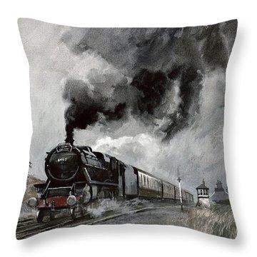 Steam Train At Garsdale - Cumbria Throw Pillow