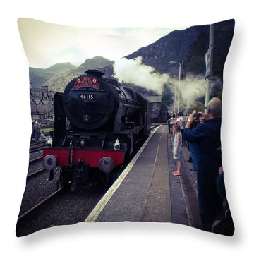 Steam Train, Ffestiniog, North Wales Throw Pillow
