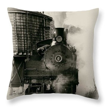 Steam Train Throw Pillow by Jerry Fornarotto