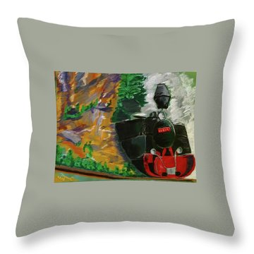 Steam Train Throw Pillow by Manuela Constantin