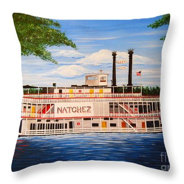 Steamboat On The Mississippi Throw Pillow