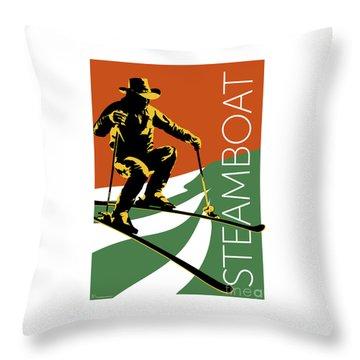 Throw Pillow featuring the digital art Steamboat Orange by Sam Brennan