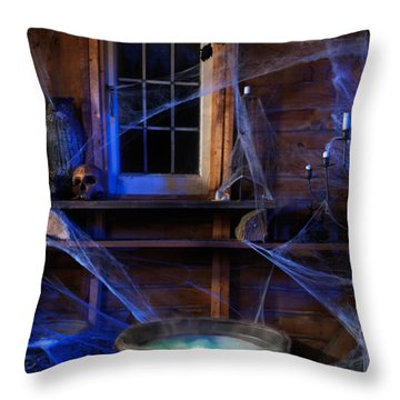 Steaming Cauldron In A Witch Cabin Throw Pillow by Oleksiy Maksymenko