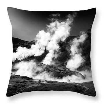 Throw Pillow featuring the photograph Steaming Iceland Black And White Landscape by Matthias Hauser