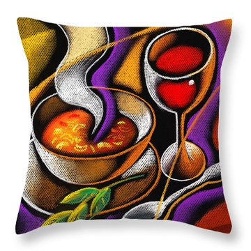 Steaming Supper Throw Pillow by Leon Zernitsky