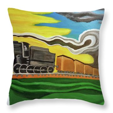 Steaming West Bound Throw Pillow