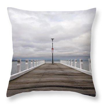 Throw Pillow featuring the photograph Steampacket Quay by Linda Lees