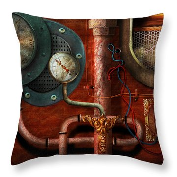 Steampunk - Controls Throw Pillow by Mike Savad