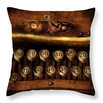 Steampunk - Remuneration Mechanism Throw Pillow by Mike Savad
