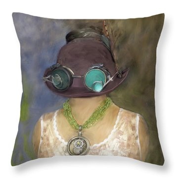Steampunk Beauty With Hat And Goggles - Square Throw Pillow by Betty Denise