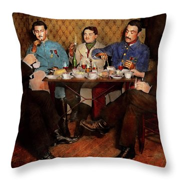 Throw Pillow featuring the photograph Steampunk - Bionic Three Having Tea 1917 by Mike Savad