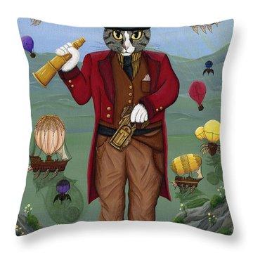 Steampunk Cat Guy - Victorian Cat Throw Pillow