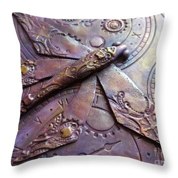 Steampunk Dragonfly Throw Pillow