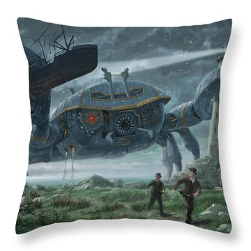 Steampunk Giant Crab Attacks Lighthouse Throw Pillow