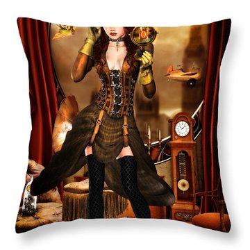 Steampunk Girl Throw Pillow