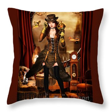 Steampunk Girl Throw Pillow
