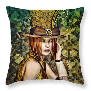 Steampunk Girl Two Throw Pillow