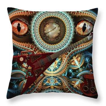 Throw Pillow featuring the digital art Steampunk Guitar by Louis Ferreira