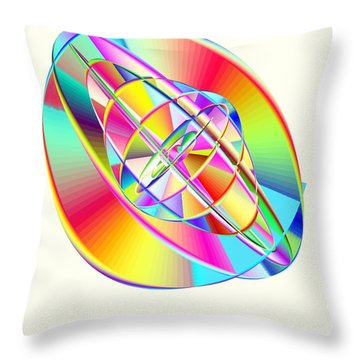 Steampunk Gyroscopic Rainbow Throw Pillow by Michael Skinner