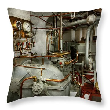 Throw Pillow featuring the photograph Steampunk - In The Engine Room by Mike Savad
