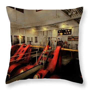 Throw Pillow featuring the photograph Steampunk - Man The Controls 1908 by Mike Savad