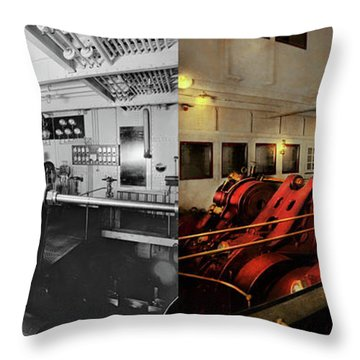 Throw Pillow featuring the photograph Steampunk - Man The Controls 1908 - Side By Side by Mike Savad