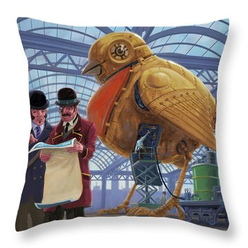 Steampunk Mechanical Robin Factory Throw Pillow