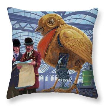 Steampunk Mechanical Robin Factory Throw Pillow by Martin Davey