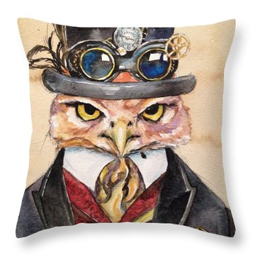 Throw Pillow featuring the painting Steampunk Owl Mayor by Christy  Freeman