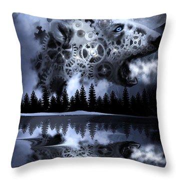 Steampunk Polar Bear Landscape Throw Pillow