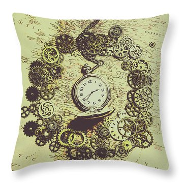 Steampunk Travel Map Throw Pillow