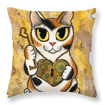 Steampunk Valentine Cat Throw Pillow