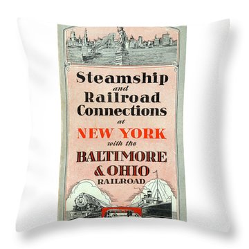 Steamship And Railroad Connections At New York Throw Pillow