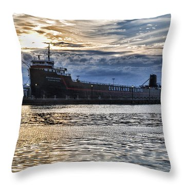 Throw Pillow featuring the photograph Steamship William G. Mather - 1 by Mark Madere