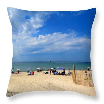 Steamy Beach Day Throw Pillow