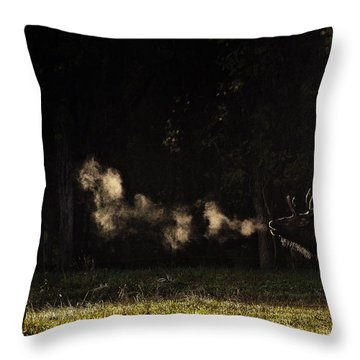 Steamy Breath Elk Bugle Throw Pillow
