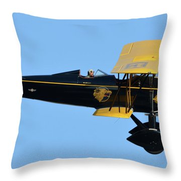 Stearman 4e Junior Speedmail Nc663k Chino California April 29 2016 Throw Pillow by Brian Lockett