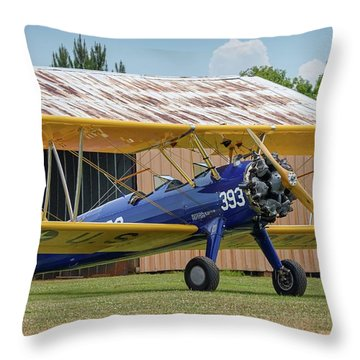 Stearman And Old Hangar Throw Pillow