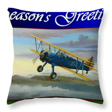 Throw Pillow featuring the painting Stearman Christmas Card by Stuart Swartz