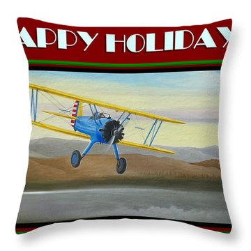 Throw Pillow featuring the painting Stearman Morning Flight Christmas Card by Stuart Swartz