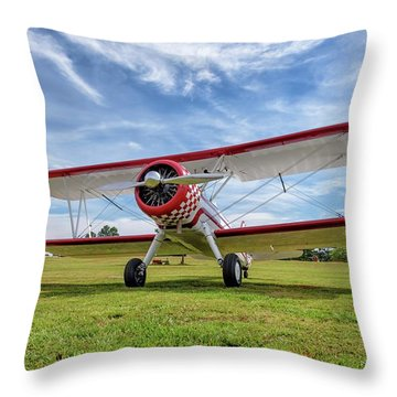 Stearman On Grass Throw Pillow