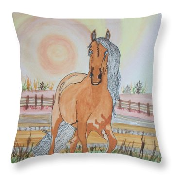 Throw Pillow featuring the painting Stech Of A Horse by Connie Valasco