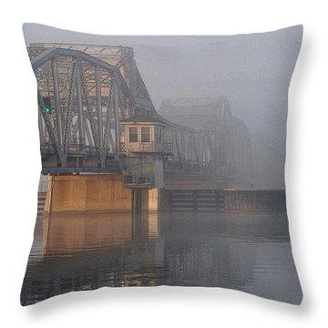 Steel Bridge In Fog Throw Pillow