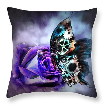 Steel Butterfly Throw Pillow
