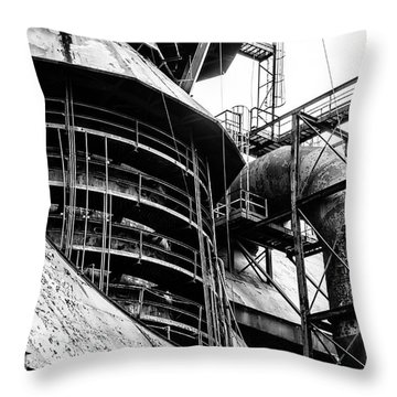 Steel Mill In Black And White - Bethlehem Throw Pillow by Bill Cannon