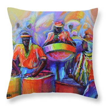 Steel Pan Carnival Throw Pillow by Cynthia McLean