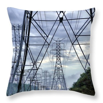 Throw Pillow featuring the photograph Steel Soldiers Marching To The Sea by Brian Wallace